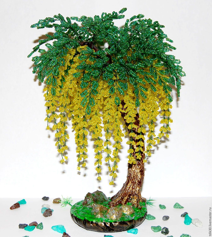 """Купить Глициния """"Золотой дождь"""" - жёлтый, деревья из бисера, бонсай из бисера, подарок девушке"""