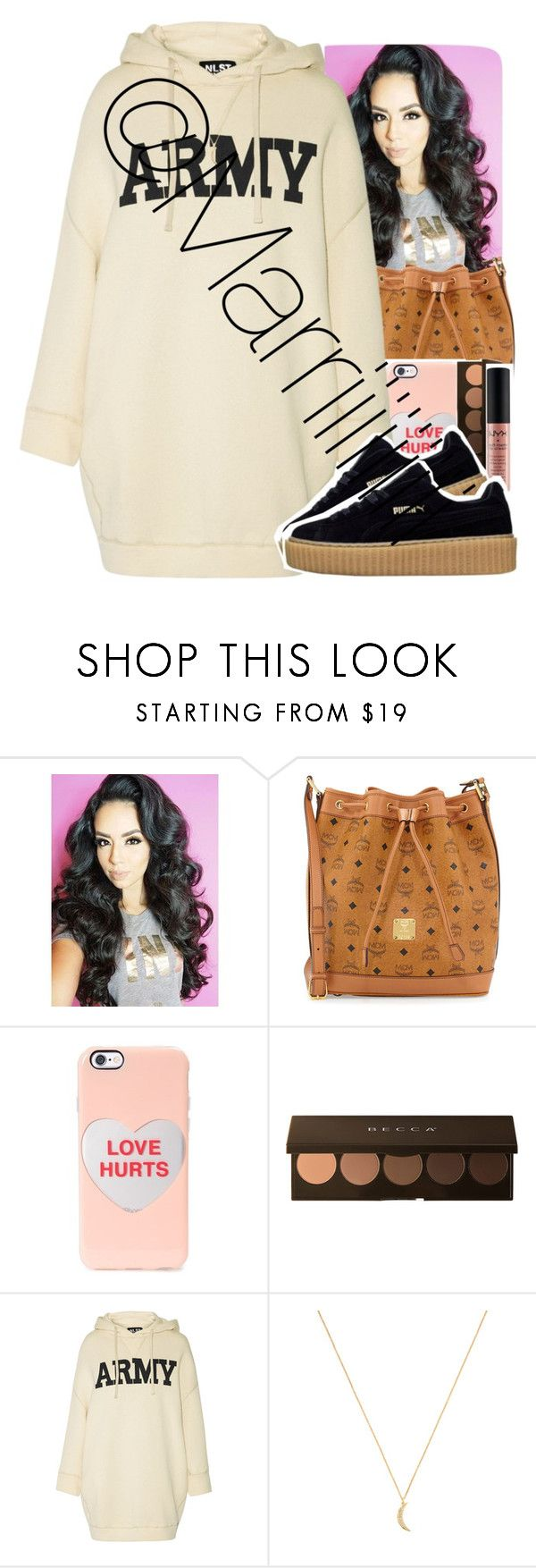 """""""Watch out lil b*tch"""" by marriiiiiiiii ❤ liked on Polyvore featuring MCM, Marc by Marc Jacobs, Becca, NYX, NLST and Rebecca Minkoff"""