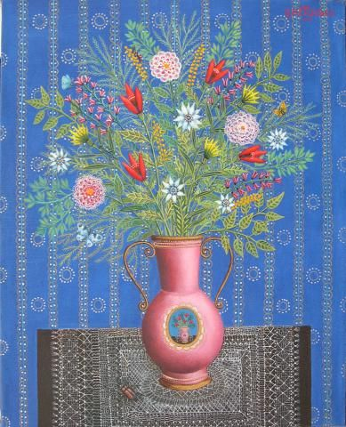 Bouquet of Flowers by Tamas Galambos, size: 50cmX40cm. Painting matierial: Oil on canvas