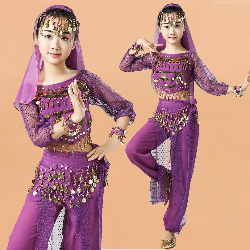 Children Indian Dance Belly Dancing Costume Set Girls Long Sleeves Purple Fashion Clothing Dance Performance Wear Indian Dance Costumes Modern Dance Costume