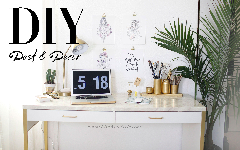 Ikea marble desk hack & easy office organizational diys