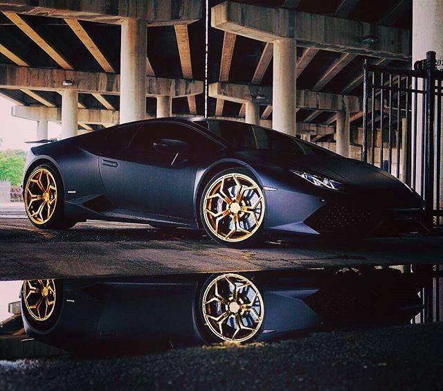 Matte Black Gold Rims Instacarros Matte Cars Matte Black
