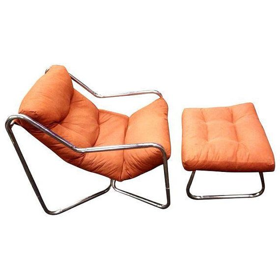 Mid-Century Modern Italian 70s Tubular Chrome Orange Sling ...