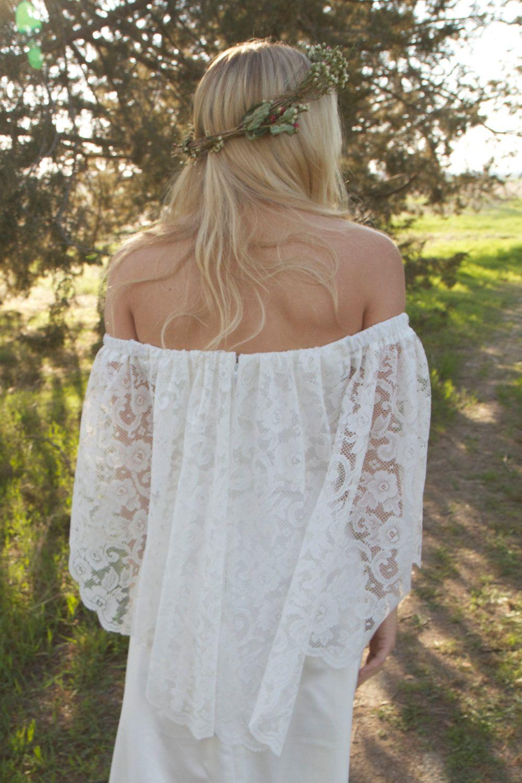 Pretty lace off the shoulder wedding dress & flower crown