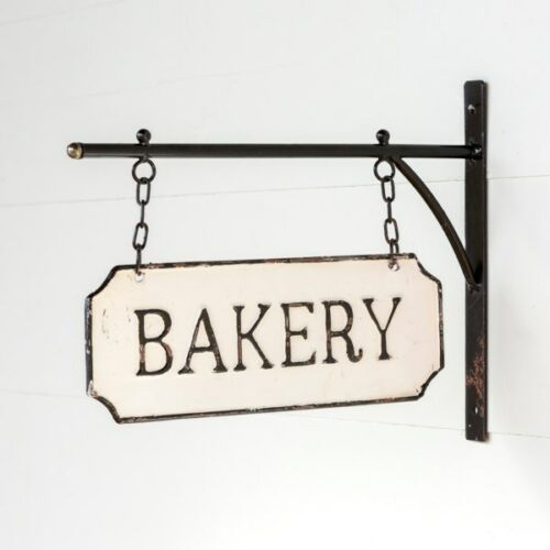 Vintage Style Shabby Rustic Hanging Metal Bakery Sign With Hanging Bar