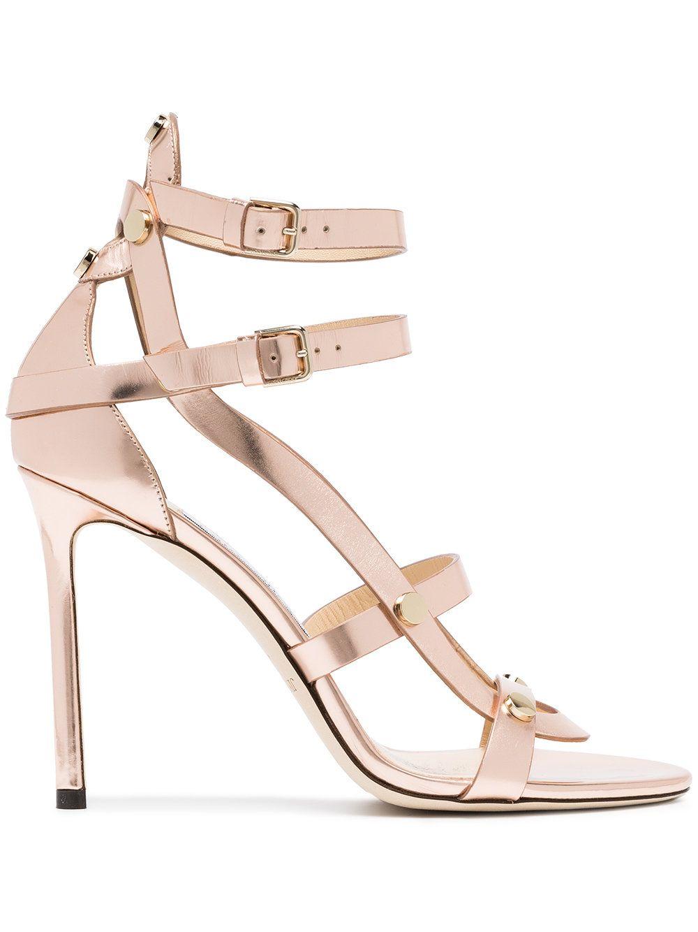 0ddb15240bfe Jimmy Choo Rose Gold Motoko 100 Leather Sandals
