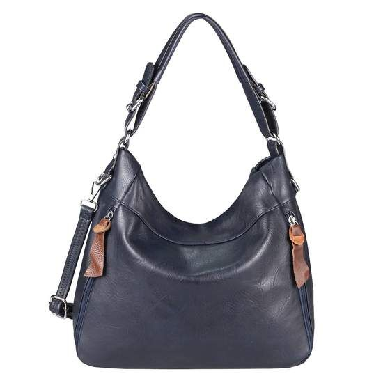 Photo of OBC Damen Tasche Shopper Hobo-Bag Schultertasche Ledertasche Ta1622.IBlue