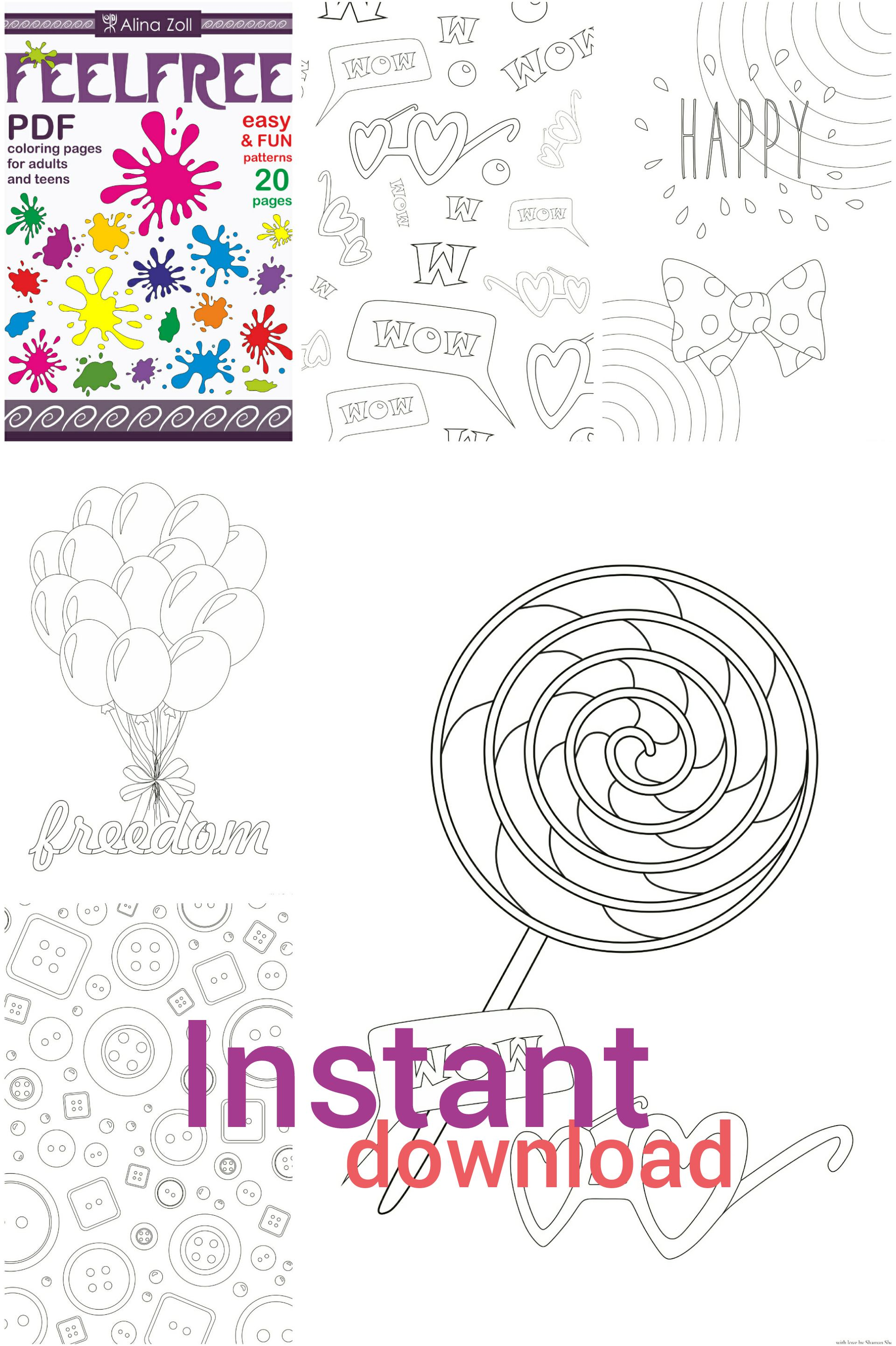 Fun Adult Coloring Book Digital Download Pdf Simple Pages For Grown Ups Easy Printable Patterns Sheets Creative Activity