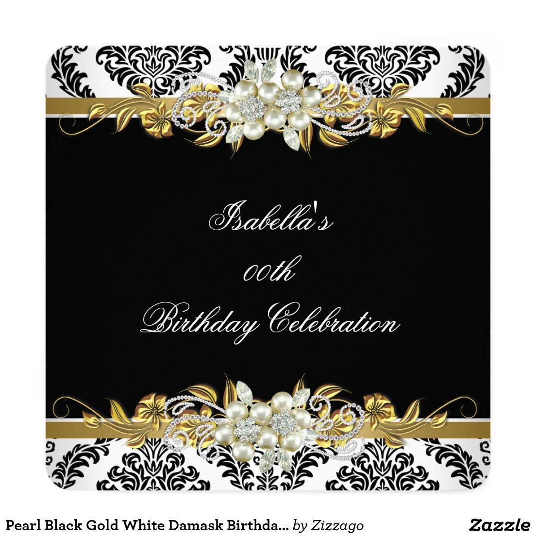 Pearl Black Gold White Damask Birthday Party 5.25x5.25 Square Paper ...