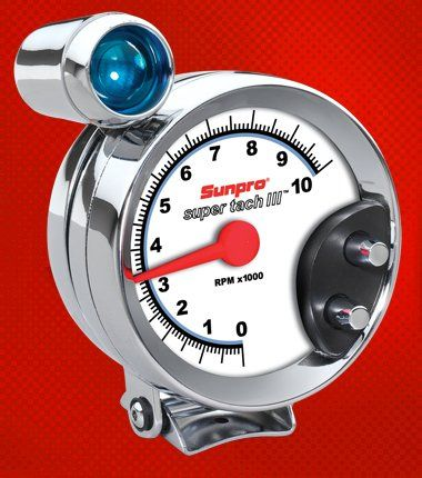 sunpro cp7914 super tach iii 5 chrome bezel/white face tachometer with shift  light -- you can find more details by visiting the image link