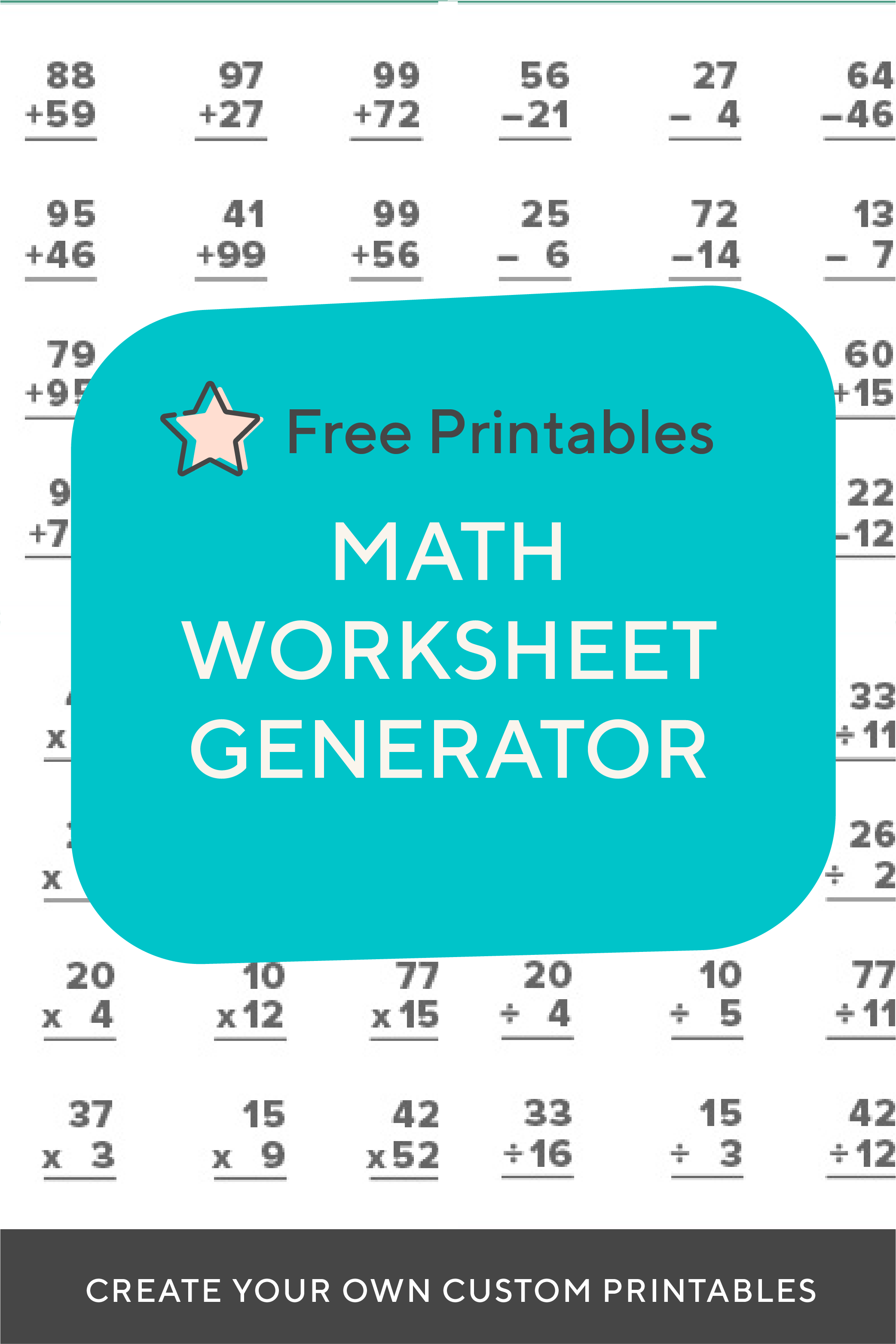 Need To Create A Timed Test Or Just Want To Print Out Some Extra Practice For Your Child Or Class Create Endle Fact Family Worksheet Teaching Subtraction Math