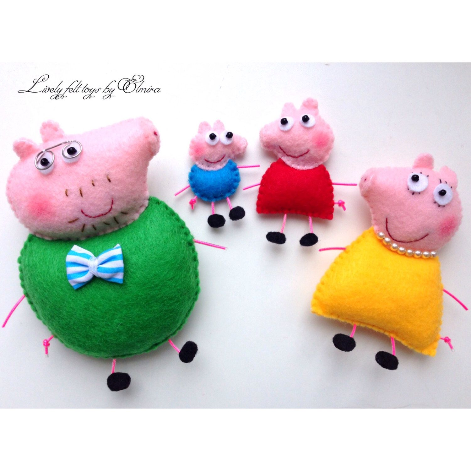 Pig christmas ornaments - Peppa Pig Little Pig Family Pig Felt Pig Christmas Ornaments