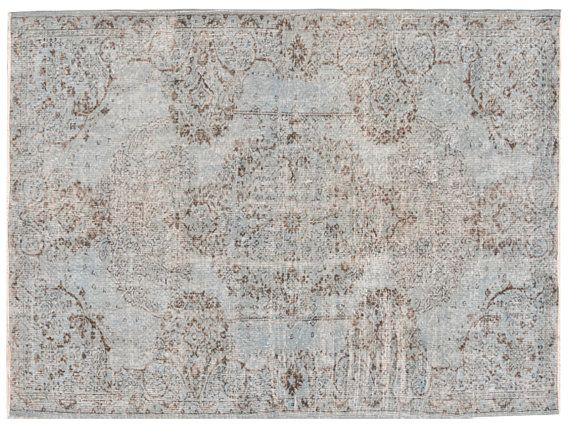 8.8 X 5.9 FT OVERDYED Vintage Turkish Rug  Grey Color by RetroRugs