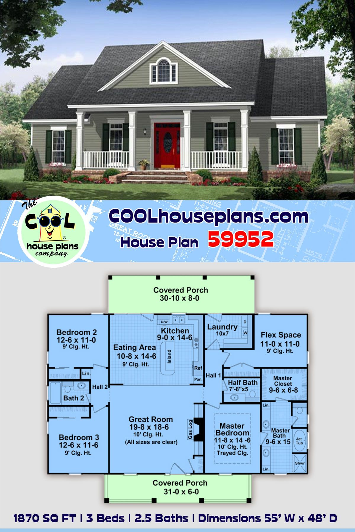 Traditional Style House Plan 59952 With 3 Bed 3 Bath In 2020 New House Plans Ranch House Plans Cottage Plan
