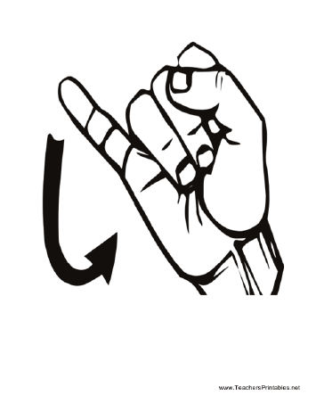 diagram of a hand signing the letter j free to download and print