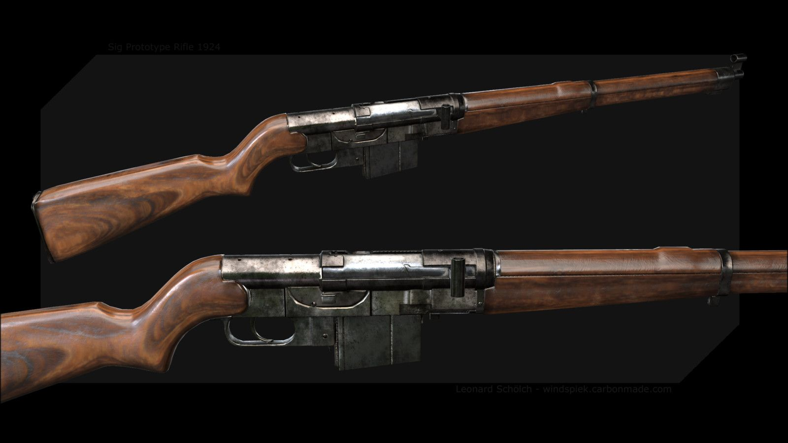 Sig Prototype Rifle 1925, Leonard Schölch on ArtStation at https://www.artstation.com/artwork/RL5wv