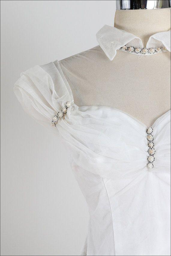Wedded Bliss . vintage 1950s wedding dress . vintage beaded wedding ...