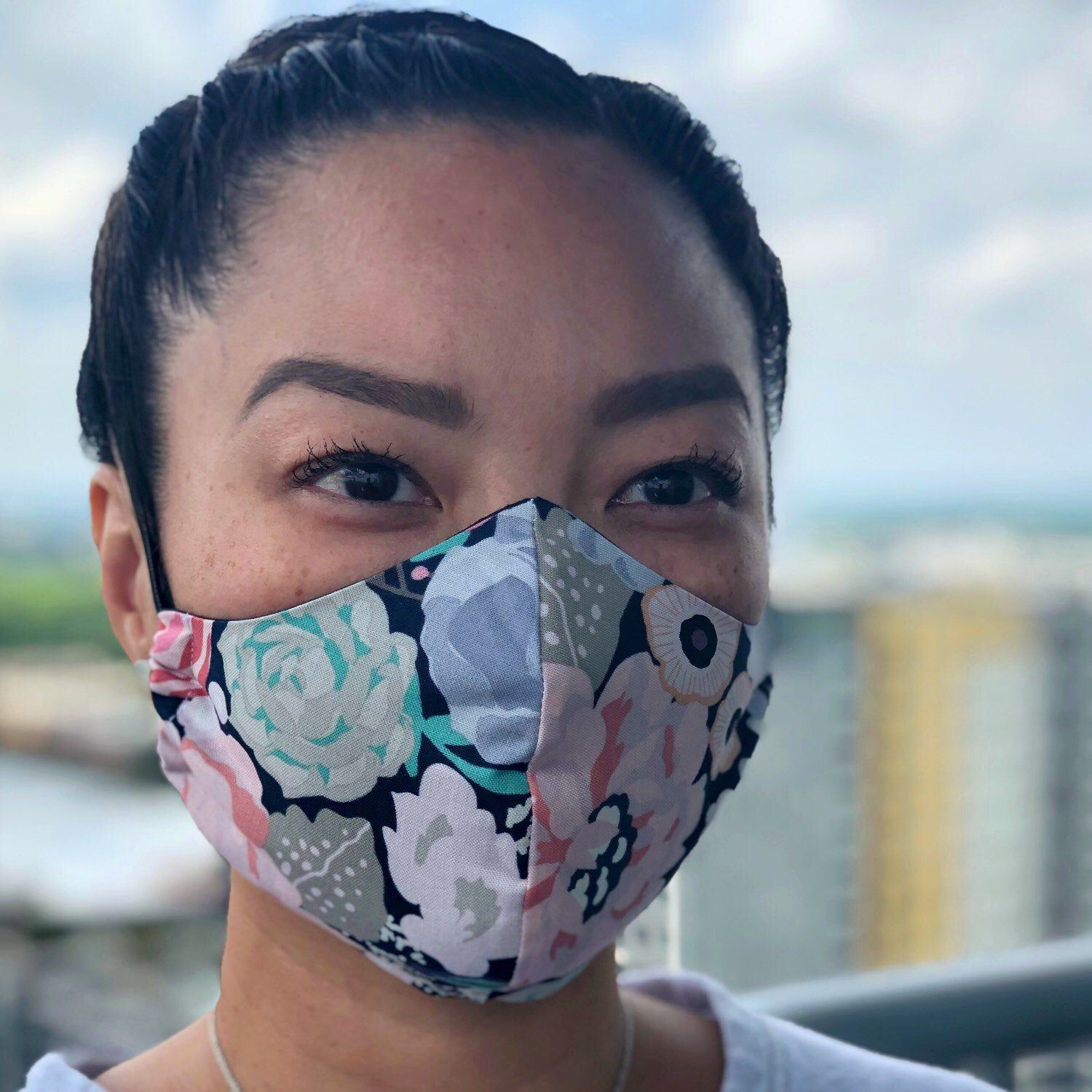[ Fabric Face Mask ] :: :: Navy Floral - Washable, double-layered, head-strap #handmade… thumbnail