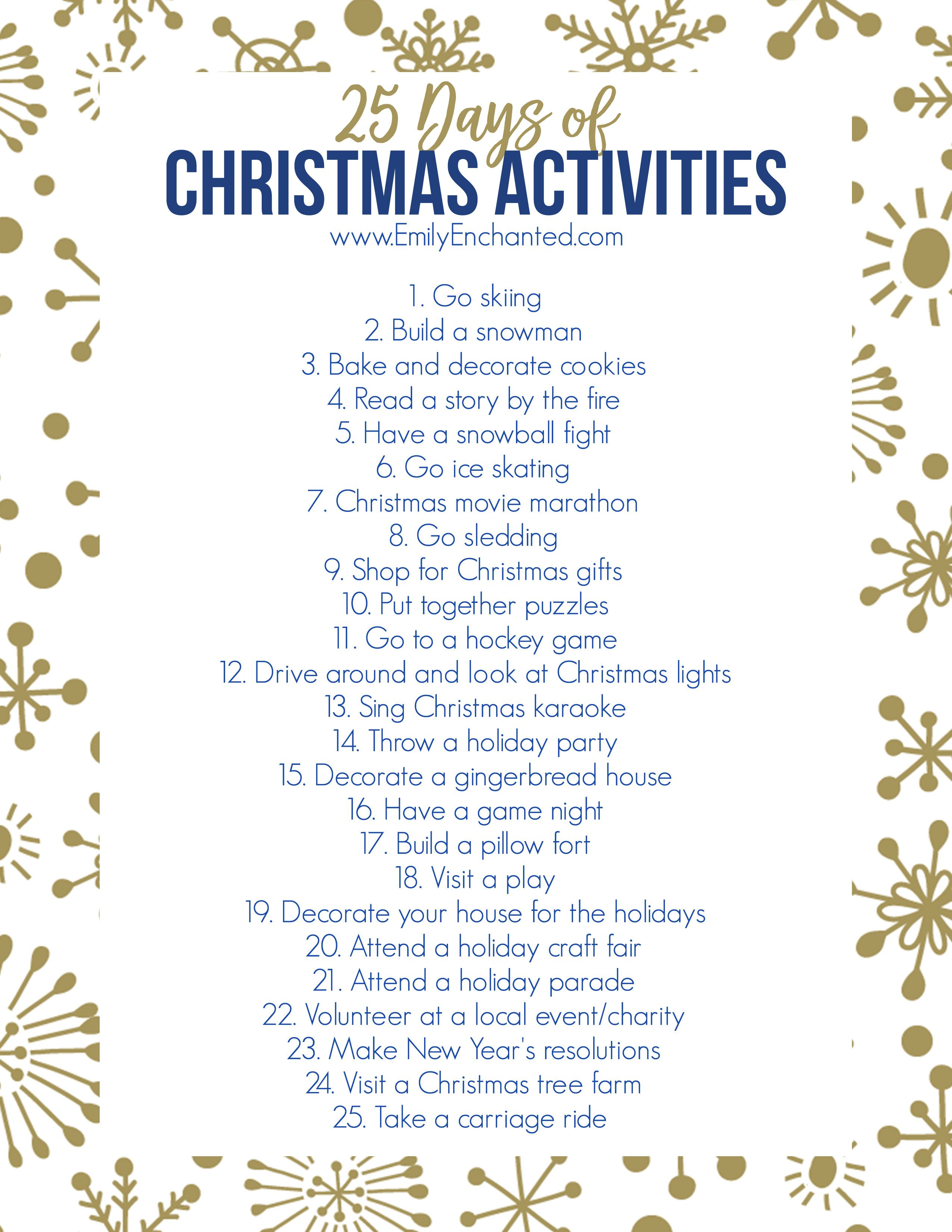 This Christmas Activities Printable Is Full Of 25 Fun
