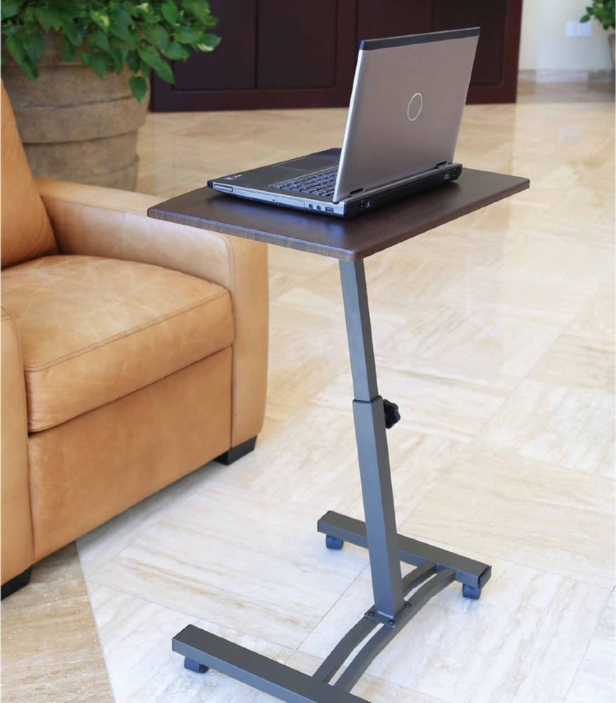 Portable Laptop Desk Cart Mobile Notebook Stand Rolling Computer Table Wheels Adjustable Laptop Table Laptop Desk Desk