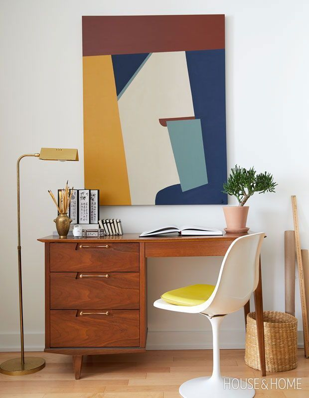 Valerie S Office Is A Vintage Mid Century Desk And A Reproduction Tulip Chair Photographer M Mid Century Desk Vintage Mid Century Desk Home Office Design