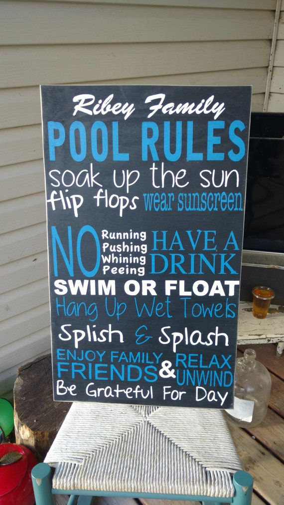 Pool Sign, pool rules, Wooden wall art, Hand Painted, Home ...