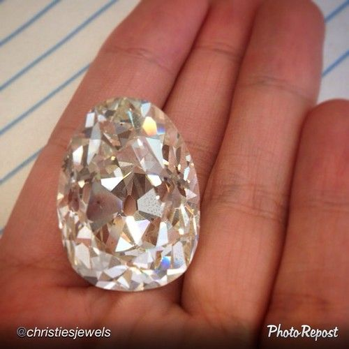 """A little afternoon delight from the new @christiesjewels account: """"Exclusive Reveal: 74.89 carat Pear-shaped diamond. Available in our New York Magnificent Jewels sale Dec 10.  
