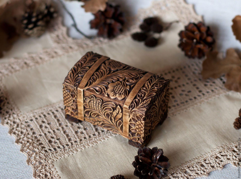 """Купить """"Горький шоколад"""" шкатулка-сундучок.Кудринская резьба.Резьба по дереву - коричневый, купить в москве"""