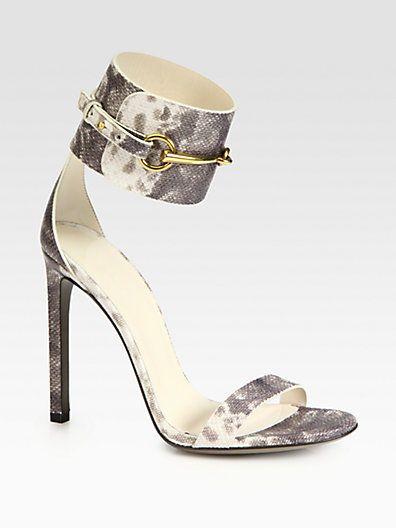 09b93a2eb966 Gucci - Ursula Leather Horsebit Ankle Strap Sandals - Saks.com ...