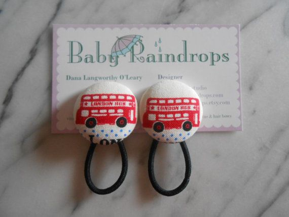 London Bus pony tail holders make great party by babyraindrops.