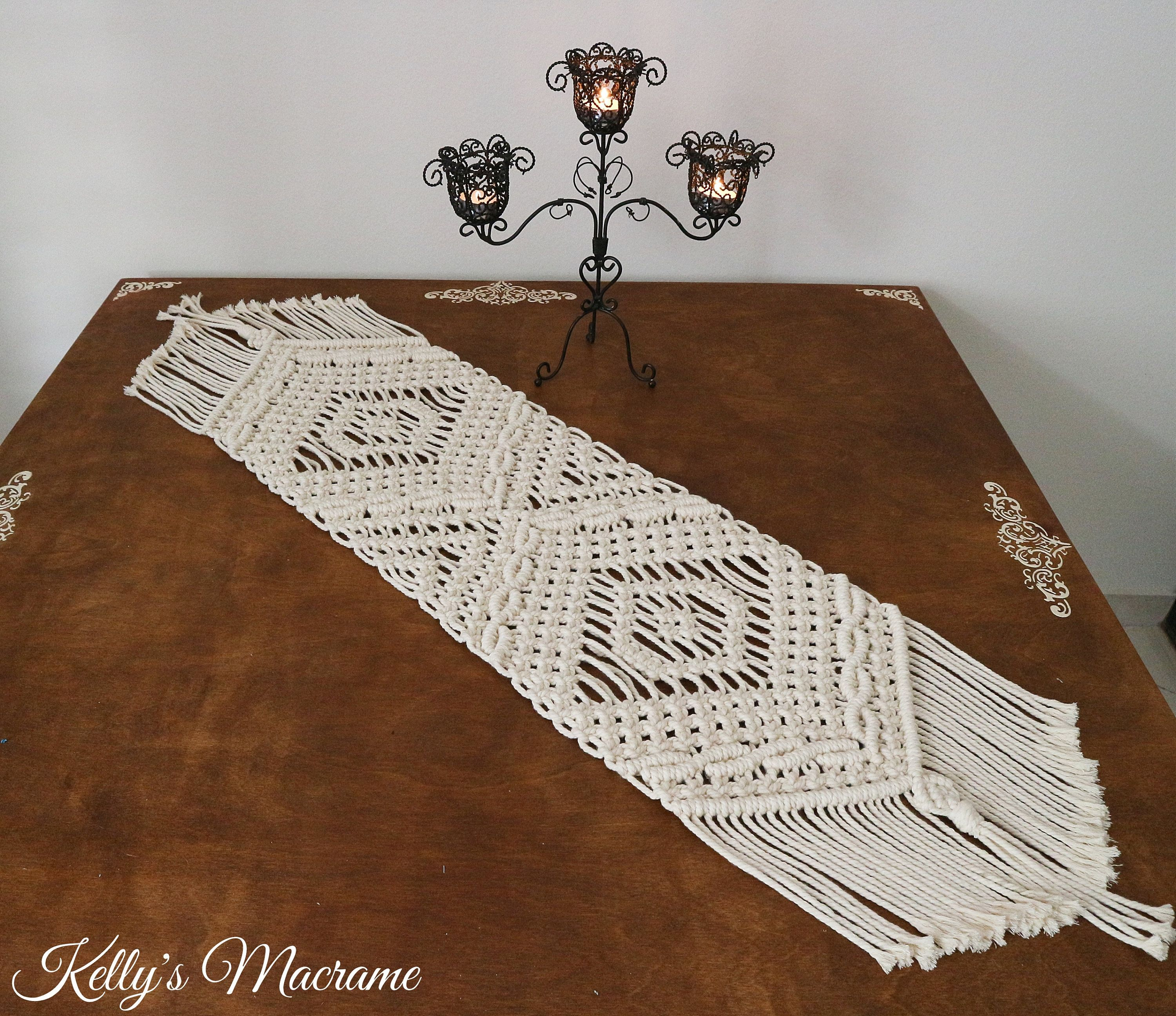 "Kelly's Macrame Table Runner ""Athena"", Home Decor, Table decor, Boho Style, Traditional Style, Modern, Wedding, Gift, Greek Designer."