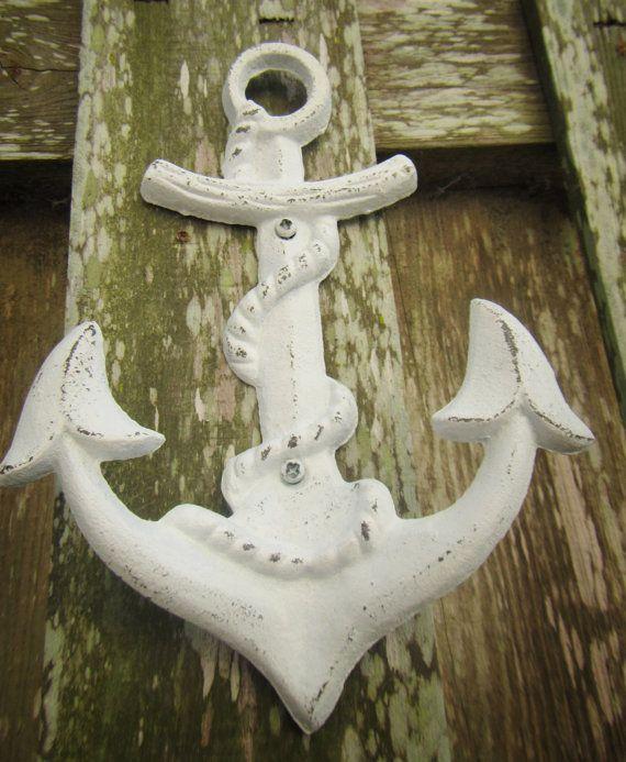 Nautical White Anchor Metal Wall Hook / Nautical by ShabbyAnchor