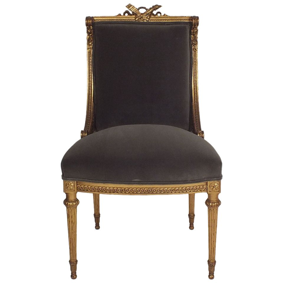 French Giltwood Vanity Chair In Louis Xvi-style Chairs