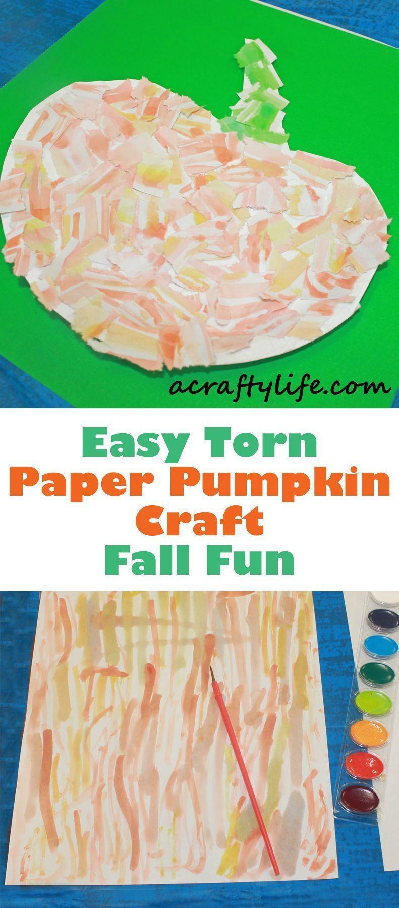 Torn Paper Pumpkin Kids Craft – Fall Craft #pumpkincraftspreschool torn paper