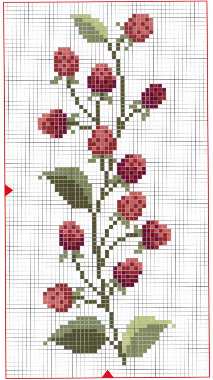 3 colors of red, 3 colors of green--use chart and enjoy | Broderies ...