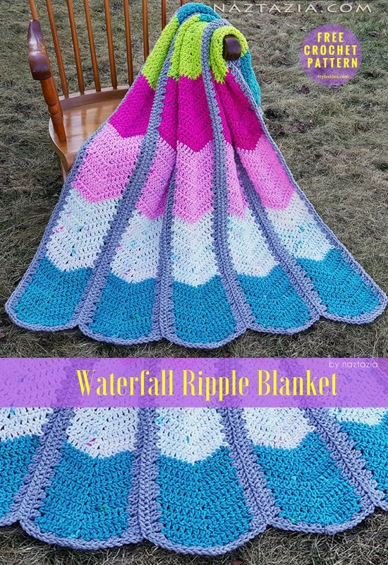 Waterfall Ripple Blanket Free Crochet Pattern Bernat Softee