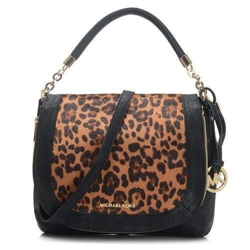 689f01838dc3 Best Michael Kors Stanthorpe Leopard Medium Black Shoulder Bags Popular In  The World