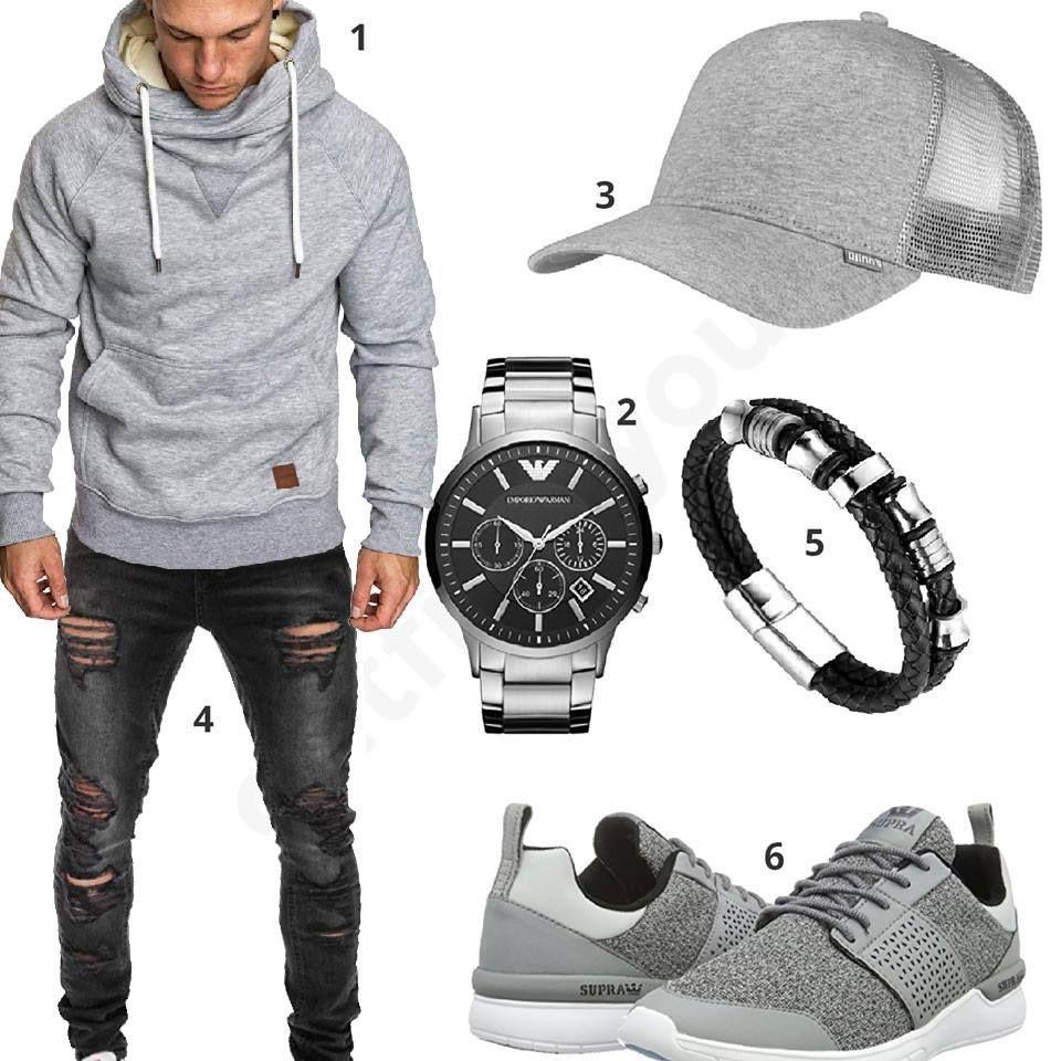 Hellgrau-Schwarzer Street-style mit Hoodie und Jeans  hoodie  jeans  armani 48f5b5c7b3