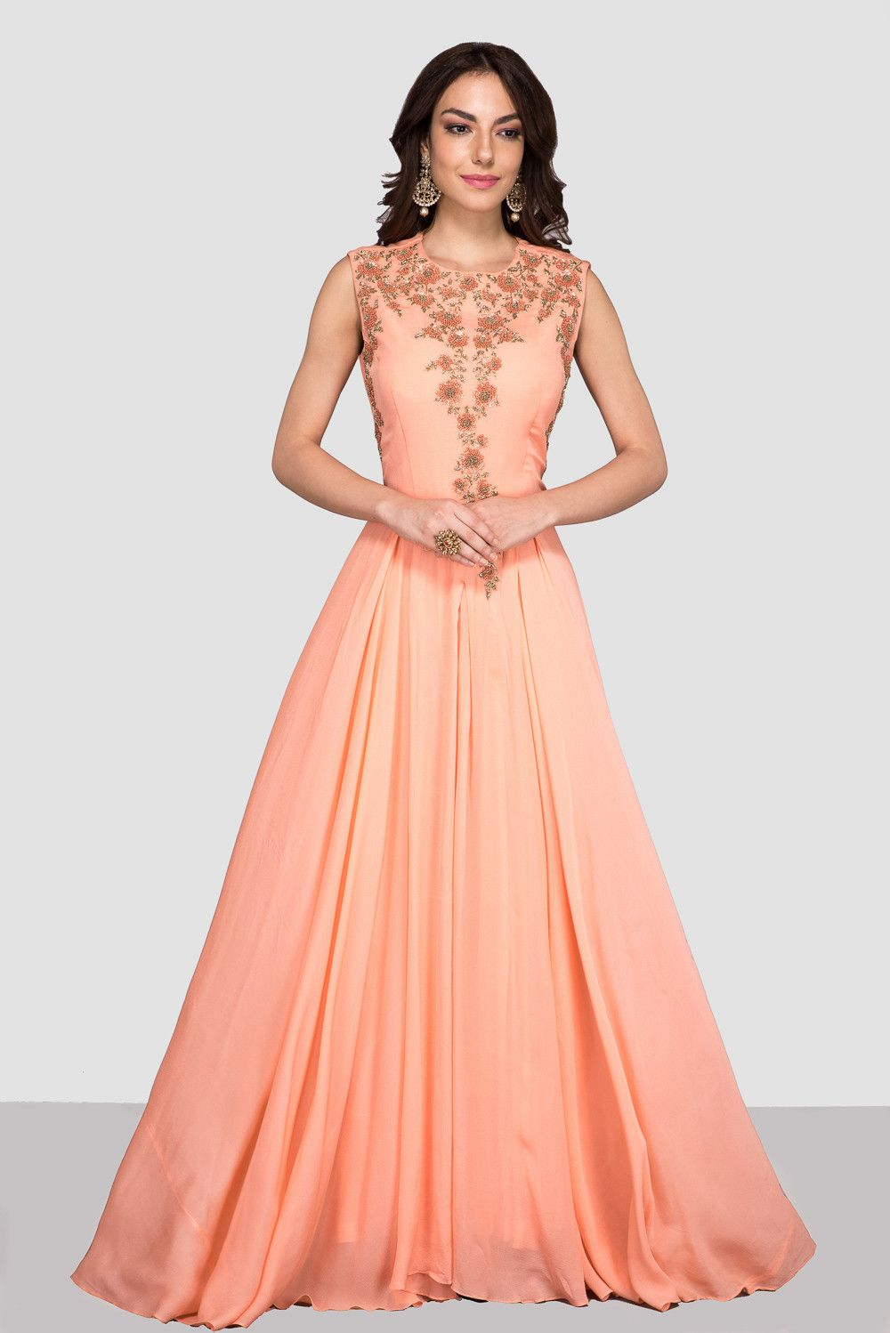 ZAYAH Peach Pleated Gown | Pinterest | Peach, Gowns and Anarkali
