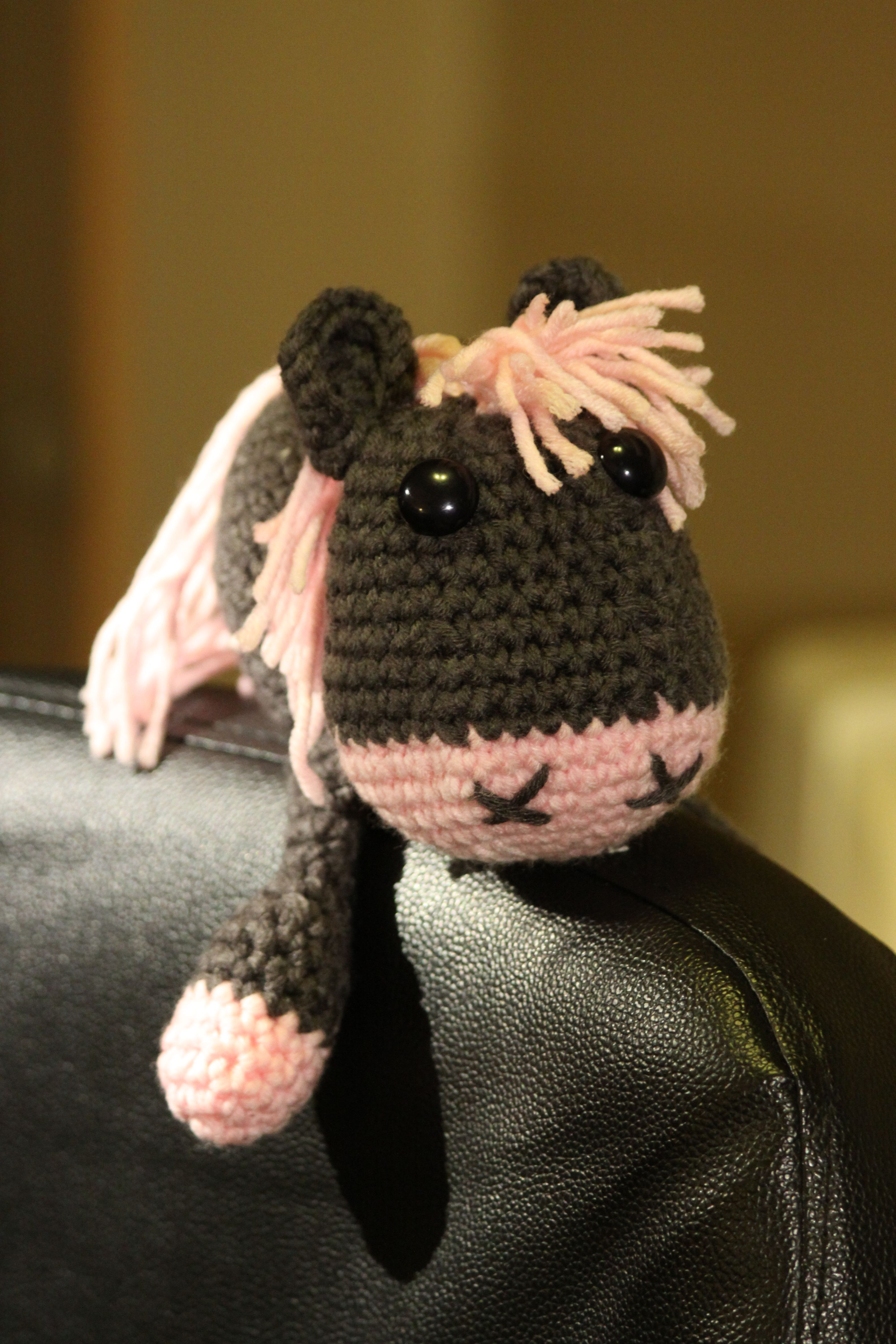 My own crocheted pony. Hind legs not done yet, but i cant resist this little cutie!