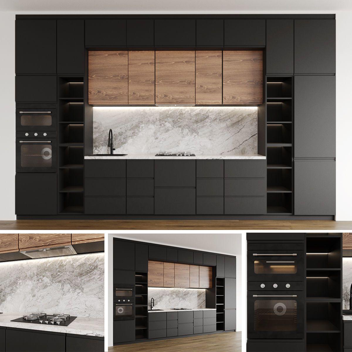 Modern Kitchen Ikea Voxtorp 3d Model In 2020 Modern Kitchen Ikea Kitchen Kitchen Models