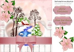 pretty snow scene with pink poinsettias 8x8 on Craftsuprint - View Now!