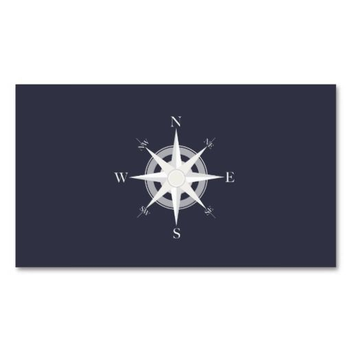 Compass Navy Blue Nautical Double-Sided Standard Business Cards