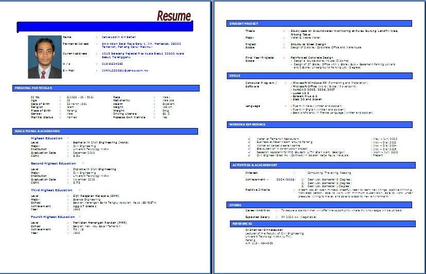 Contoh Resume Lengkap Terkini Dan Terbaik Resume Templates Sample Resume Templates Resume