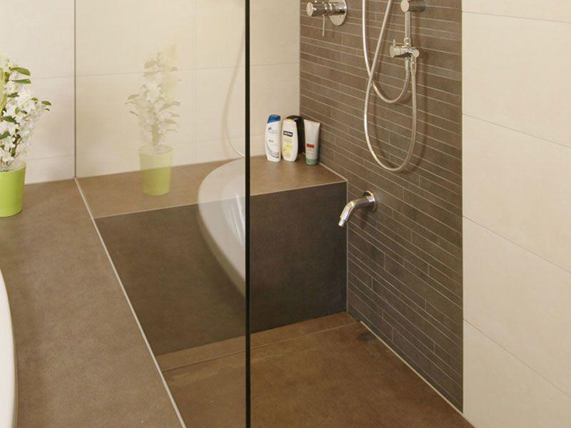 sitz in dusche ceraflex zement braun - Gemauerte Dusche Licht