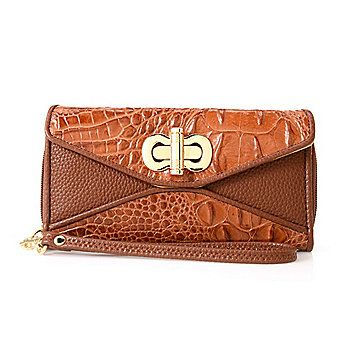 """Madi Claire """"Connie"""" Croco Embossed Leather Turn Lock Wallet w/ Wristlet Strap"""