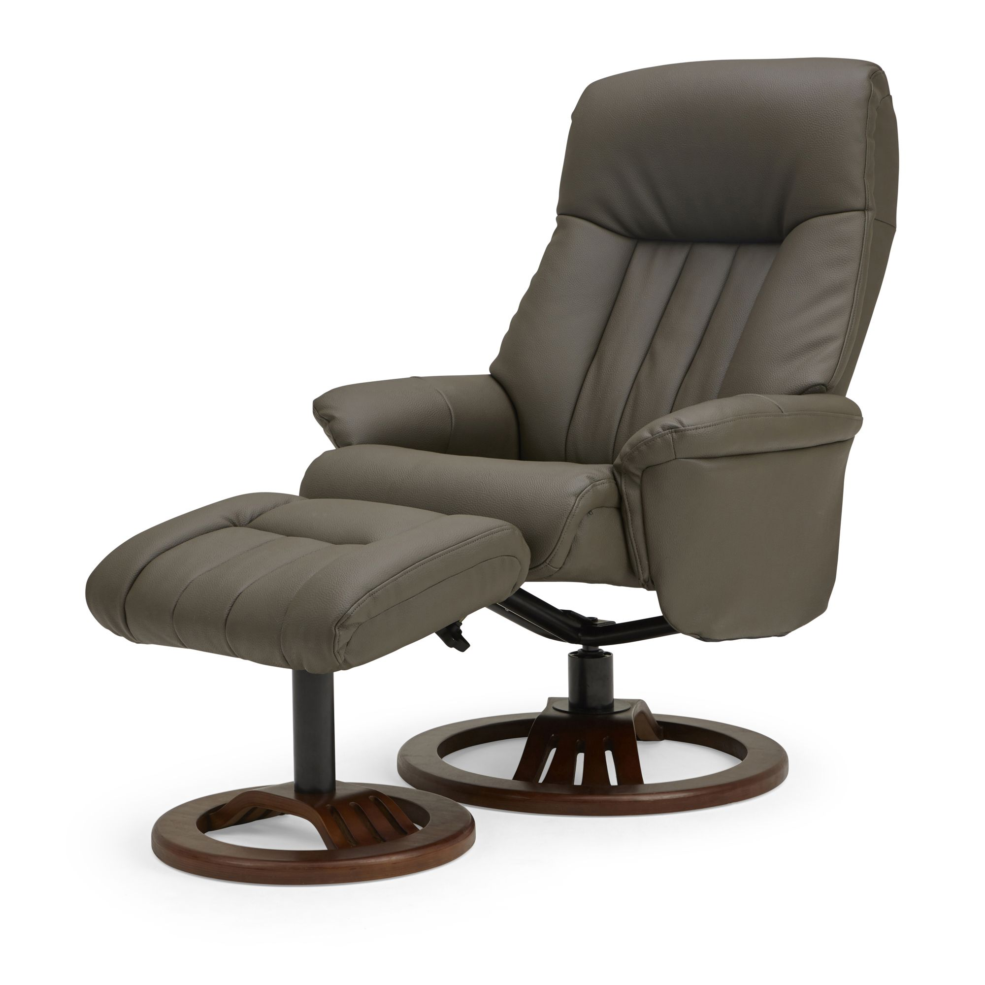 Nelson Swivel Recliner Chair And Footstool Grey Sofas