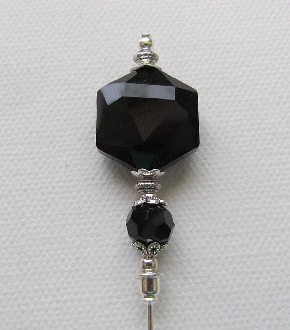 Black Crystal Glass Antique Silver Plated Hat Pin Stick Pin Black Crystals Hat Pins Silver Fashion