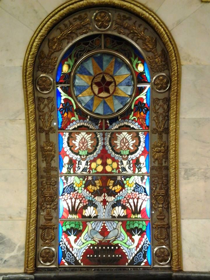 stained-glass artwork at Novoslobodskaya metro station, Moscow