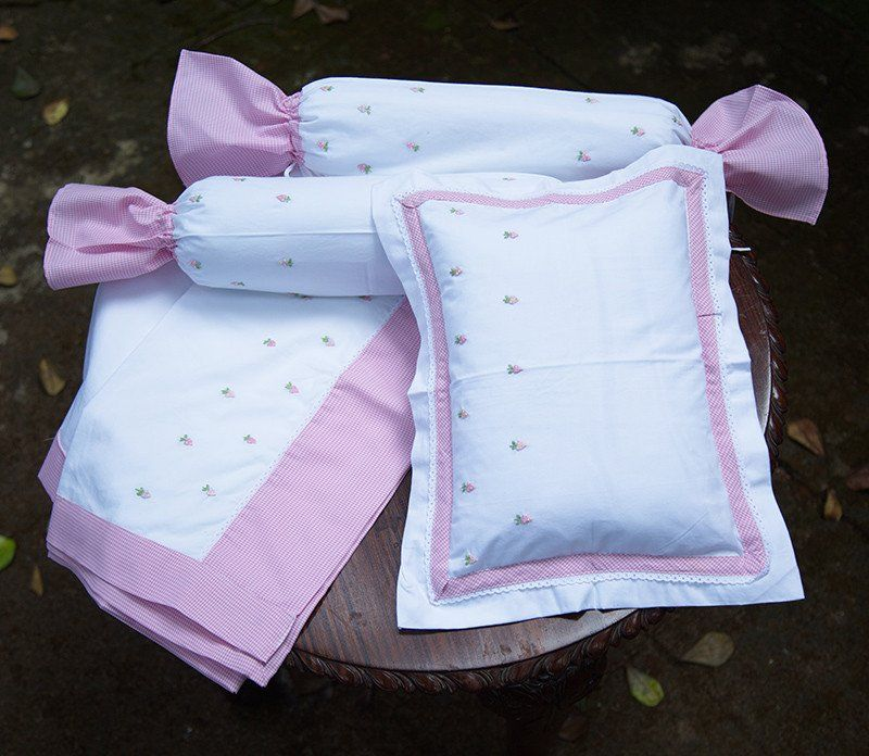 Embroidered Pink Strawberry Cot Set Cot Sets Baby Pillow Case